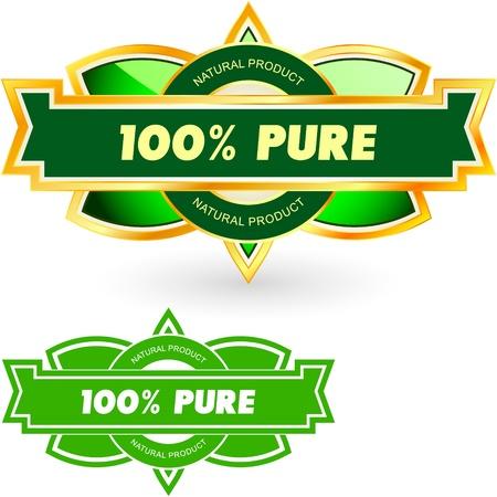 100% PURE. Vector label. Stock Vector - 11269286