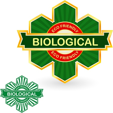 BIOLOGICAL. Eco friendly label. Illustration