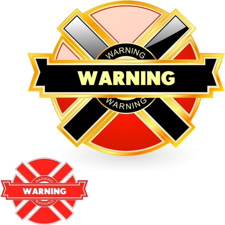 Warning vector label. Vector