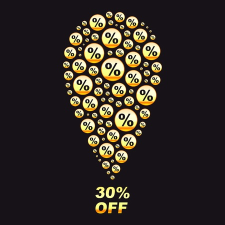 percentage sign: Discount illustration.
