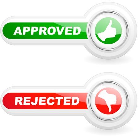 Genehmigt und abgelehnten Symbole