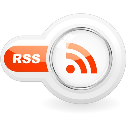 RSS glossy button. Vector