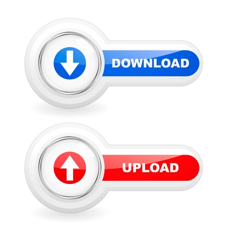interface menu tool: Download and upload buttons. Vector set for web.   Illustration
