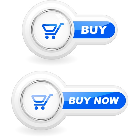 klik: Winkelen knop. Vector illustratie.