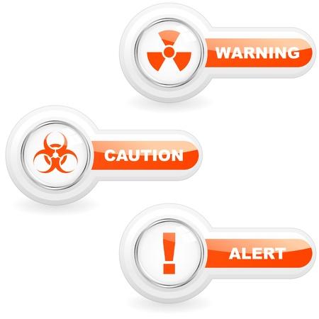 Warning vector button set. Illustration