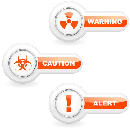 infection prevention: Warning vector button set. Illustration