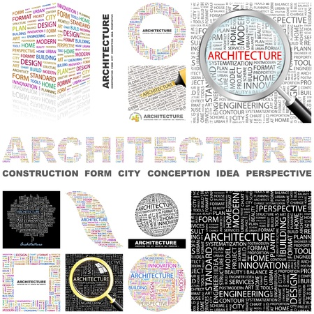systematization: ARCHITECTURE  Word collage  GREAT COLLECTION  Illustration