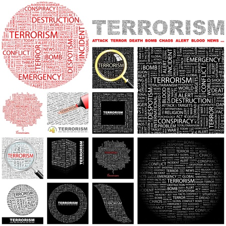 bloodshed: TERRORISM. Word collage. GREAT COLLECTION.