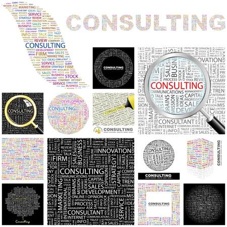 財源: コンサルティングの単語コラージュの素晴らしいコレクション