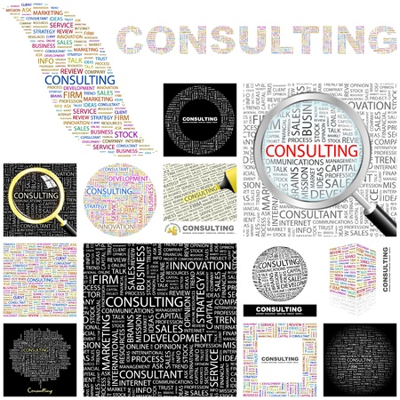 financial consultant: CONSULTING  Word collage  GREAT COLLECTION