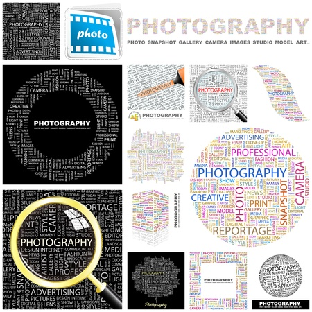 lighting equipment: PHOTOGRAPHY. Word collage. GREAT COLLECTION.