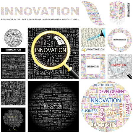 INNOVATION  Word collage  GREAT COLLECTION  Vector