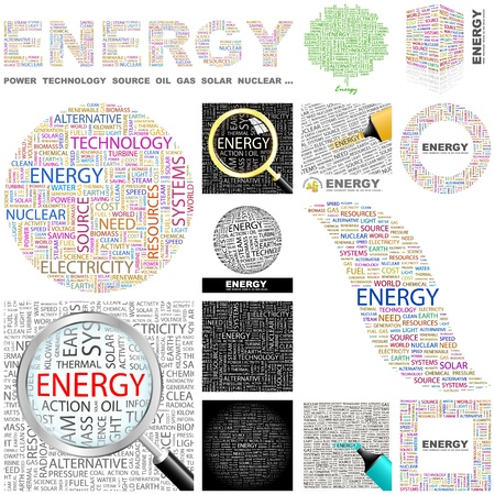 ENERGY  Word collage  GREAT COLLECTION  Vector