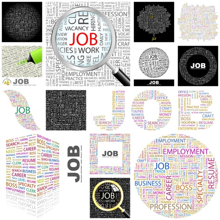 job hunting: JOB. Concept illustration. GREAT COLLECTION. Illustration