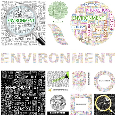 ENVIRONMENT  Word collage  GREAT COLLECTION  Vector