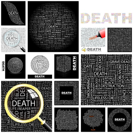 grief: DEATH. Word collage. GREAT COLLECTION.