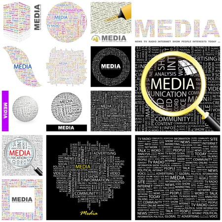 MEDIA. Word collage. GREAT COLLECTION. Vector