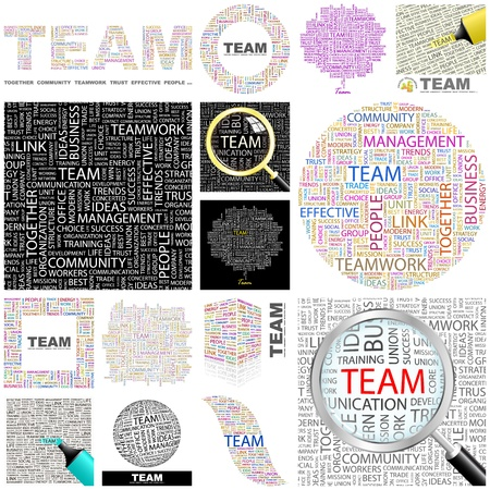 TEAM  Word collage  GREAT COLLECTION  Vector