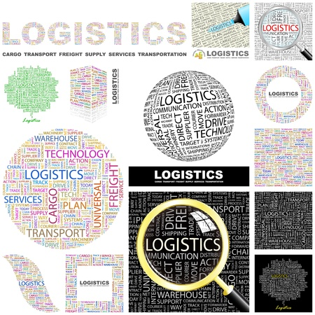 import trade: LOGISTICS. Word collage. GREAT COLLECTION.