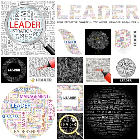 alpha: LEADER. Word collage. GREAT COLLECTION. Illustration