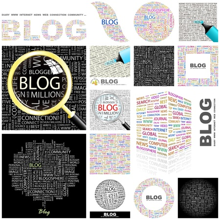 BLOG  Word collage  GREAT COLLECTION  Stock Vector - 15178081