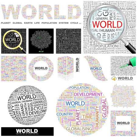 content writing: WORLD  Word collage  GREAT COLLECTION
