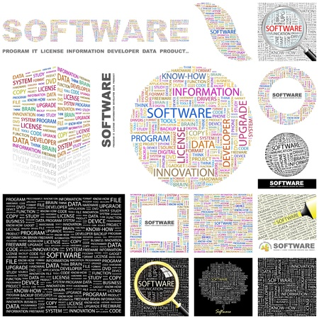SOFTWARE  Word collage  GREAT COLLECTION  Vector