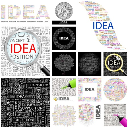 stratagem: IDEA. Word collage. GREAT COLLECTION.