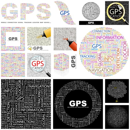 gps device: GPS. Concept illustration. GREAT COLLECTION. Illustration