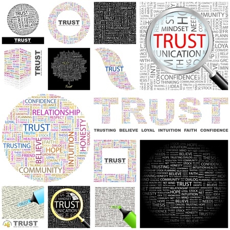 design media love: TRUST  Word collage  GREAT COLLECTION