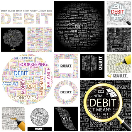 keywords backdrop: DEBIT. Word collage. GREAT COLLECTION. Illustration