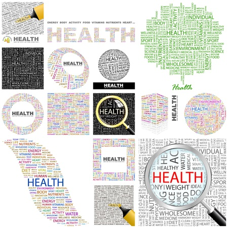 health and safety: HEALTH  Word collage  GREAT COLLECTION  Illustration