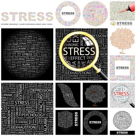 hormonas: ESTRÉS. Palabra collage. Gran colección.