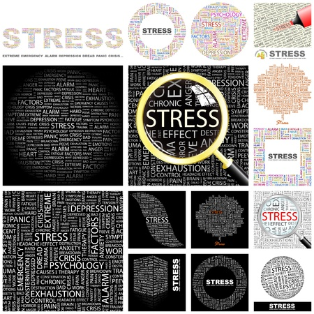 worry tension: STRESS. Word collage. GREAT COLLECTION. Illustration