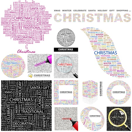 cloud cover: CHRISTMAS. Word collage. GREAT COLLECTION.