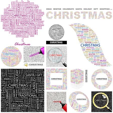 christmass: NAVIDAD. Palabra collage. Gran colecci�n. Vectores