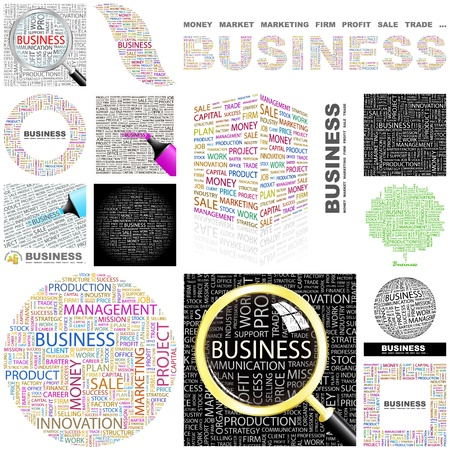 ruilhandel: BUSINESS. Woord collage. Grote collectie.