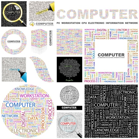 office automation: COMPUTER  Word collage  Great collection  Illustration