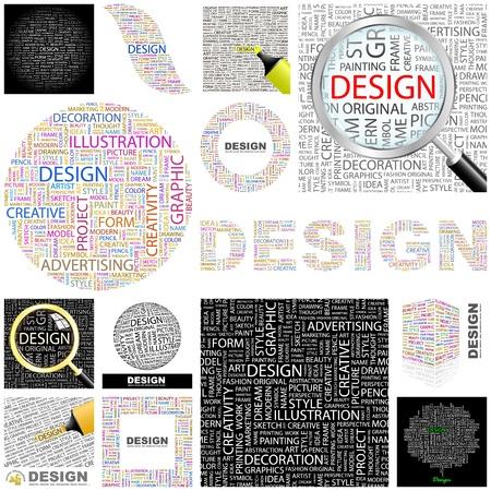 concepteur web: DESIGN. Collage de mots. Grande collection.