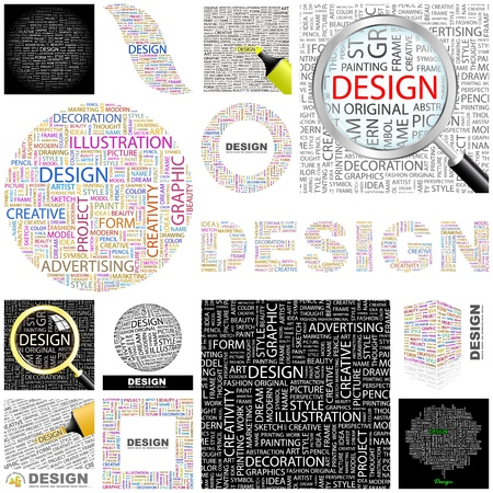 paper graphic: DESIGN. Word collage. GREAT COLLECTION. Illustration