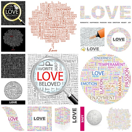 LOVE. Word collage. GREAT COLLECTION. Vector