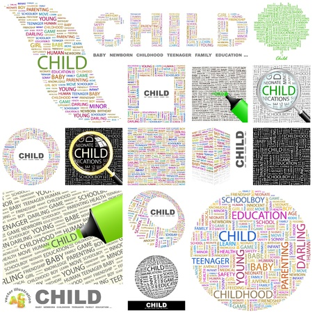 child of school age: CHILD. Word collage. GREAT COLLECTION.