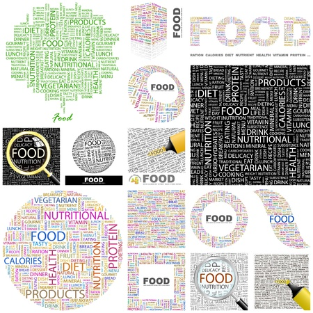 collage alphabet: FOOD. Word collage. GREAT COLLECTION.