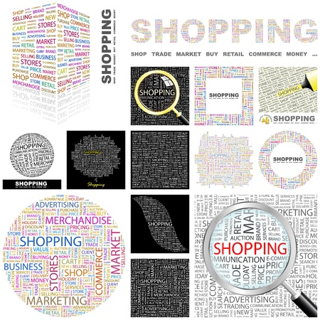 customer focus: SHOPPING. Concept illustration. GREAT COLLECTION. Illustration