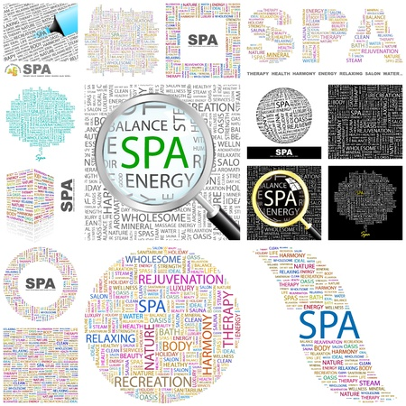SPA  Word collage  Great collection  Vector