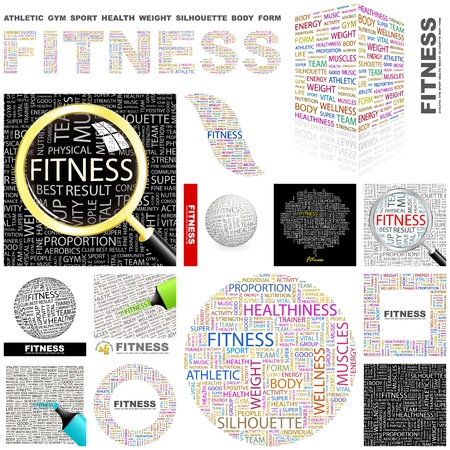 FITNESS  Word collage  GREAT COLLECTION  Vector