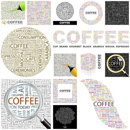 internet cafe: COFFEE. Word collage. GREAT COLLECTION. Illustration