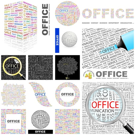 OFFICE  Word collage  GREAT COLLECTION Stock Vector - 16709270