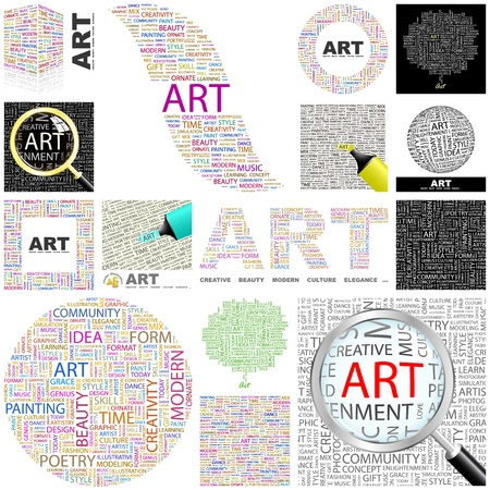 content writing: ART. Word collage. GREAT COLLECTION.