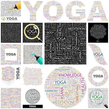 asociacion: YOGA. Concepto de ilustración. Gran colección.